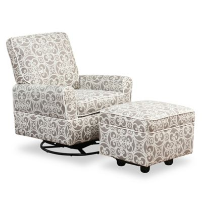 Furniture U003e Abbyson Living Grace Swivel Glider Chair And Ottoman Set In  Grey/White