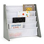 Tot Tutors Child's 4-Pocket  Book Rack in Grey/White