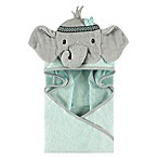 Little Treasures Tribal Elephant Hooded Towel in Blue/Teal