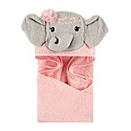 Little Treasures Blossom Elephant Hooded Towel in Pink/Grey