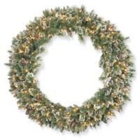 National Tree Company 48-Inch Pre-Lit Glittery Bristle Pine Wreath with Clear Lights