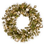 National Tree Company Pre-Lit 30-Inch Glittery Pomegranate Pine Wreath