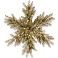 National Tree Company 32-Inch Pre-Lit Snowy Dunhill Fir Snowflake