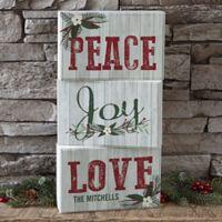 Peace, Joy, Love Personalized Rectangle Shelf Blocks (Set of 3)