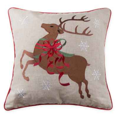 Reindeer Bows Square Throw Pillow in Natural