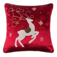 Make-Your-Own-Pillow Prancing Reindeer Square Throw Pillow Cover in Red