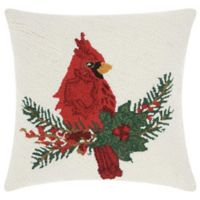 Mina Victory Home for the Holidays Snowy Cardinal Throw Pillow in Red/Beige