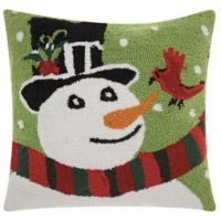 Mina Victory Home for the Holiday Snowman and Cardinal Square Throw Pillow in Green/White