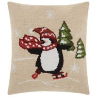 Mina Victory Home for the Holiday Skating Penguin Square Throw Pillow in Natural