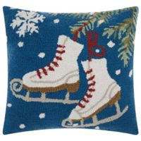 Mina Victory Home for the Holiday Ice Skates Square Throw Pillow in Blue/White