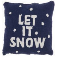 "Mina Victory Home for the Holiday ""Let it Snow"" Square Throw Pillow in Blue/White"