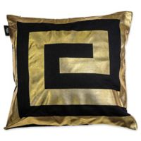 Kensie James Metallic Geo Square Throw Pillow Cover in Black/Gold