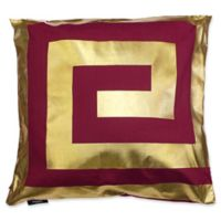 Kensie James Metallic Geo Square Throw Pillow Cover in Garnet/Gold