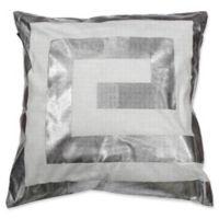 Kensie James Metallic Geo Square Throw Pillow Cover White/Silver