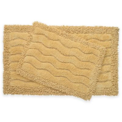 2 Piece Swirl Bath Rug Set In Yellow