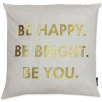 Kensie Alissa Metallic Worded Throw Pillow Cover in White/Gold
