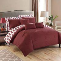 Chic Home Dieren 8-Piece Reversible Twin Comforter Set in Marsala