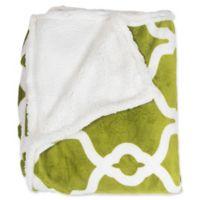 Kensie Esy Sherpa Throw Blanket in Pea Green