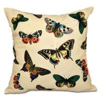 E by Design Butterflies Animal Print Square Throw Pillow in Yellow