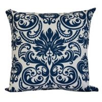 E by Design Alexys Floral Print Square Throw Pillow in Blue