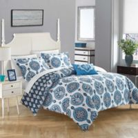 Chic Home Versaille Reversible Queen Duvet Cover Set in Blue