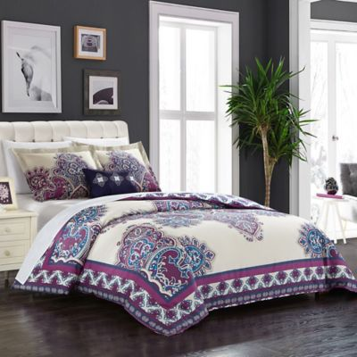 Chic Home Minaret Queen Reversible Duvet Cover Set In Purple