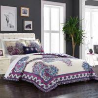 Chic Home Minaret Queen Reversible Duvet Cover Set in Purple