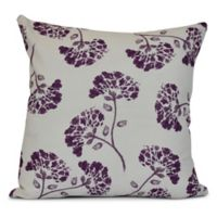 E by Design April Floral Print Square Throw Pillow in Purple