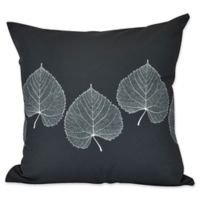 E by Design Leaf Print 2 Floral Print Square Throw Pillow in Black