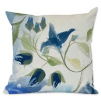 E by Design Windy Bloom Floral Print Square Throw Pillow in Navy