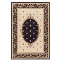 Jewel Collection Medallion 5-Foot 3-Inch x 7-Foot 7-Inch Area Rug in Black