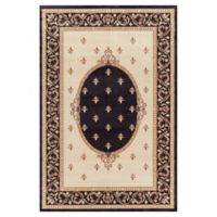 Jewel Collection Medallion 6-Foot 7-Inch x 9-Foot 3-Inch Area Rug in Black
