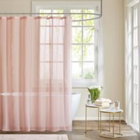 Madison Park Anna Sheer Shower Curtain in Pink