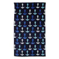 Anchors Beach Towel in Blue