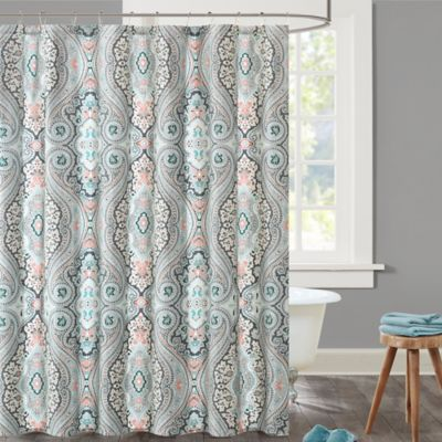 Echo Design Sterling Shower Curtain In Blue/Red