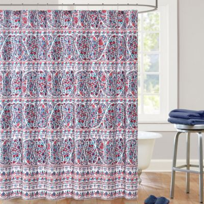 Echo Design Woodstock Shower Curtain in Blue RedBuy Blue Stripe Shower Curtain from Bed Bath   Beyond. Red And Blue Shower Curtain. Home Design Ideas