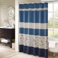 Madison Park Serene Shower Curtain in Navy
