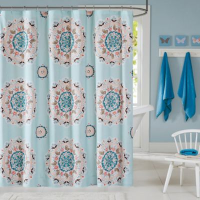 coral and blue shower curtain. INK IVY Hana Shower Curtain in Blue Buy Coral Curtains from Bed Bath  Beyond