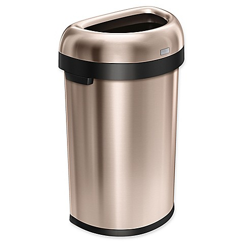 simplehuman brushed stainless steel semi round 60 liter open trash can bed bath beyond. Black Bedroom Furniture Sets. Home Design Ideas