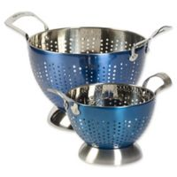 Epicurious 2-Piece Stainless Steel Colander Set in Arctic Blue