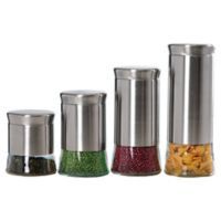 Home Basics® 4-Piece Essence Stainless Steel Canister Set