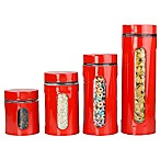 Home Basics 4-Piece Stainless Steel Canister Set in Red