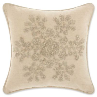 mina victory beaded snowflake square throw pillow in silver