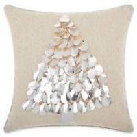 Mina Victory Metallic Christmas Square Tree Throw Pillow in Silver