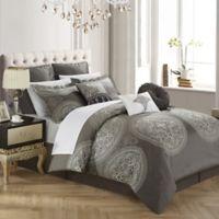 Chic Home Lira 13-Piece Queen Comforter Set in Grey