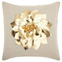 Mina Victory Metallic Floral Square Throw Pillow in Gold