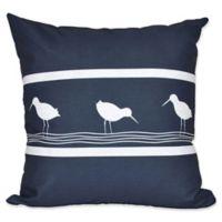 E by Design Bird Walk Animal Print Square Throw Pillow in Navy
