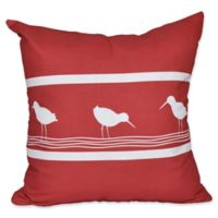 E by Design Bird Walk Animal Print Square Throw Pillow in Red