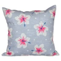 E by Design Hibiscus Blooms Floral Print Square Throw Pillow in Grey