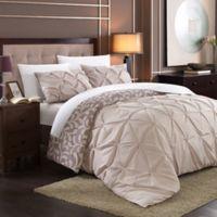Chic Home Tirina 3-Piece Queen Reversible Duvet Cover Set in Plum